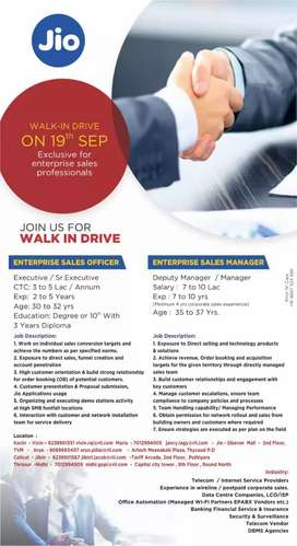 Walk in interview for Reliance Jio on 09-19-2019 for enterprise Sales