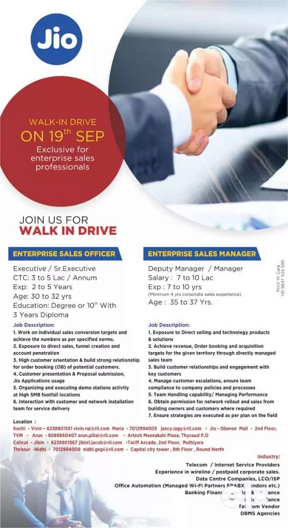Walk in interview for Reliance Jio on 09-19-2019 for enterprise Sales 0