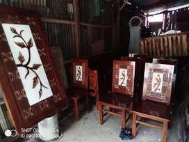 Monggo bos kursi makan kayu jati finishing ournament