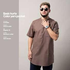 Baju Kemeja Koko Samase Kurta  Pendek | Dark Brown | Baju Muslim Pria