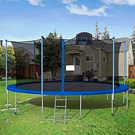 16FT Trampoline Round Jumping Table with Safety Enclosure Net, Ladder