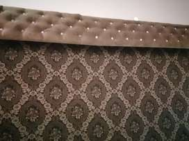 Embroided fabric blind with pelmet