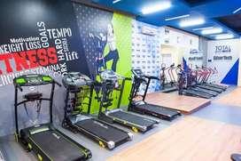 showroom alat fitness lengkap treadmill elektrik dan manual bisa COD