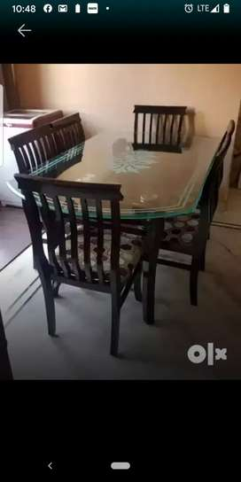 Glass top dining with 6 chairs