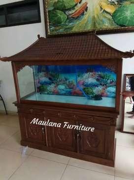 Meja aquarium jati solid ready