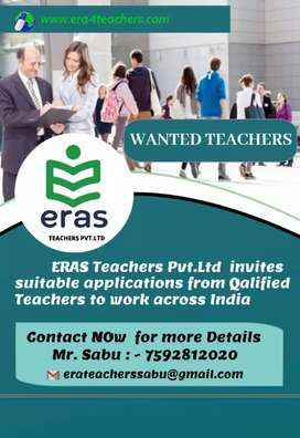 Wanted teachers to work out of  kerala