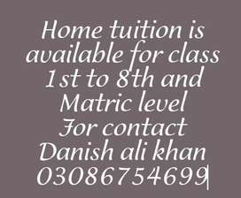 Home tuition is available for class 1st to 10th