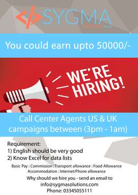 Call center Agents US, UK Campaigns