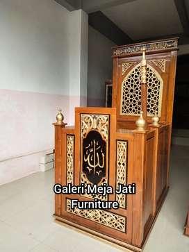 Minbar masjid doof E921 kayu jati