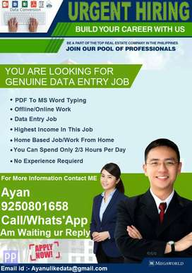 Part time & full time & home based job available you have to typing