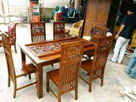 Set meja makan minimalis jari jari kayu jati ful