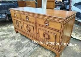 Meja tv motif classic  furniture jati 150cm .