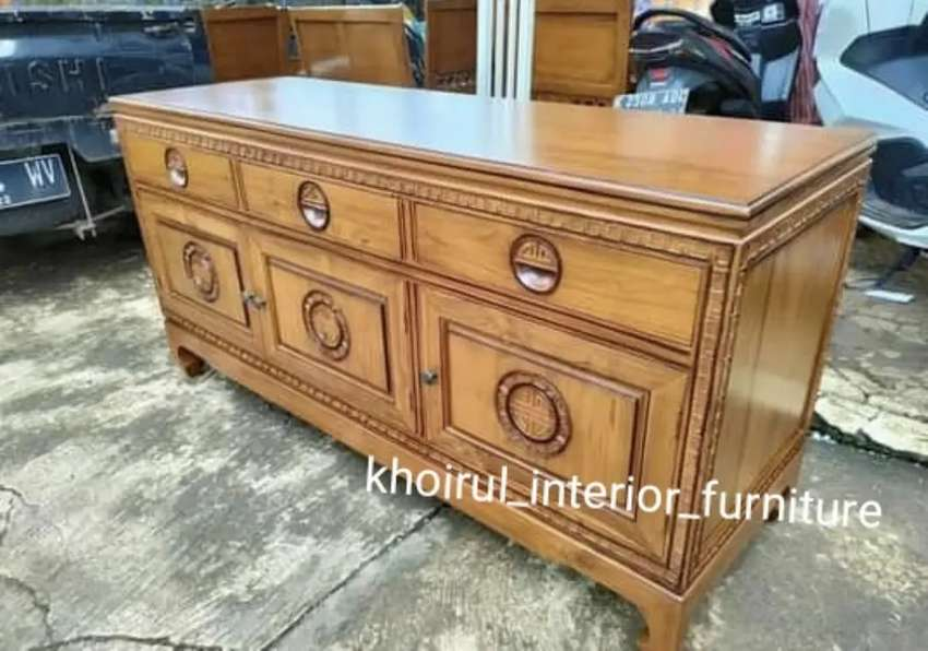 Meja tv motif classic  furniture jati 150cm .