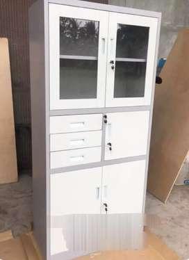 Lemari Besi / Plat Kantor Kaca (BRANKAS + Kunci + Laci) Hitam Putih