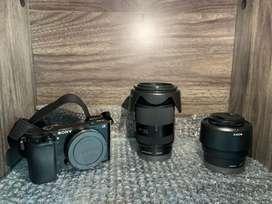Kamera Sony a6000 + Lensa Sony Tele & Fix