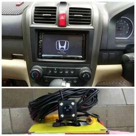 Paket double Din plus kamera mundur buat Honda CRV