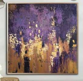 Purple n gold abstract painting