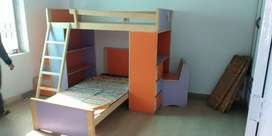 Double-Decker bed with library, studytable and Drawers