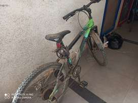 Has 21 gears + disc Brake green in colour 1 year old and 22 inch is it