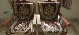 5 seater sofa of sagwan wood with cushions