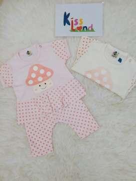 Setelan baju baby motif jamur