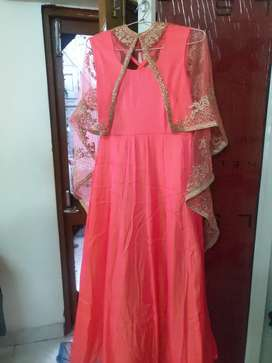 Gown with net shrug for urgent sale( Chandigarh only)