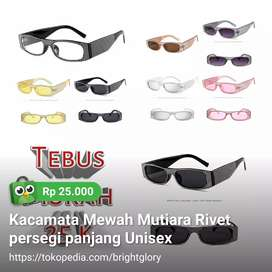 Kacamata Mewah Mutiara Ribet Persegi Panjang Unisex