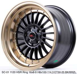 FREE ONGKIR VELG SC-01 HSR R16X8/9 H8X100-114,3 ET30/25 BK/BRZ