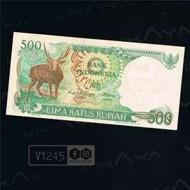 V1245 Uang Lama Pecahan 500 Rupiah Rusa Tahun 1988
