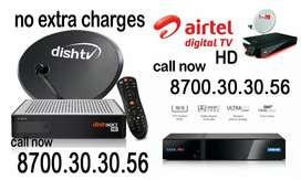 Dish tv ho ya , Tata Sky ,  airtel tv dhamaka offer call 87oo.3o.3o.56