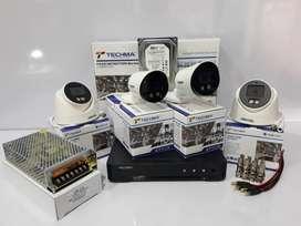 PROMO Paket CCTV FULL COLOUR 4 Chanel 5MP TECHMA Komplit