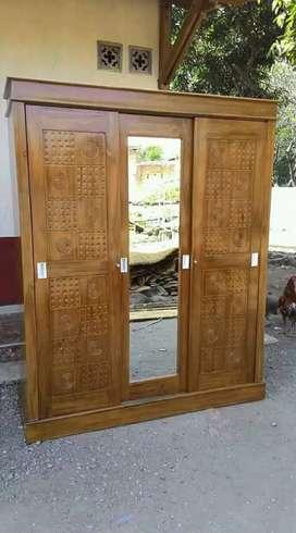 Almari 3 pintu minimalis full jati_$anggar jati/022