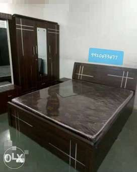 New wood brown finish bedroom set