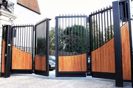 Pintu pagar lipat minimalis serat kayu