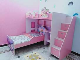 Barbie double bed with study table