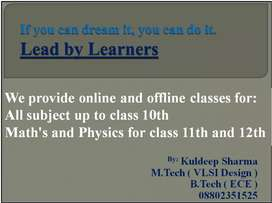 Online and offline coaching up to class 12th.
