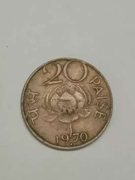 Indian 20ps Coin 1970 Years old