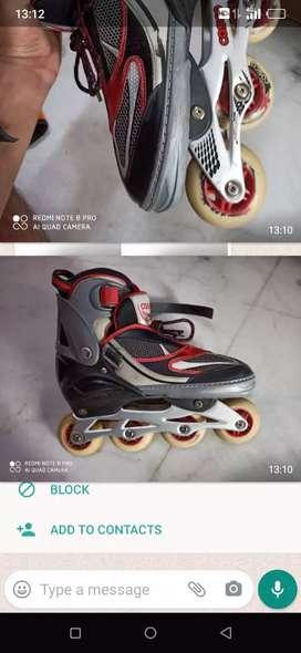 Inline skates + 2 hand pad +2 leg pad +2 fingers  pad + helmet+ bag
