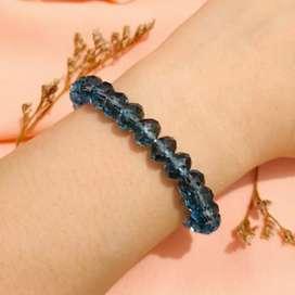 Cantik Gelang Cristal Clear Blue Bening Translusent Berkilau Elegan
