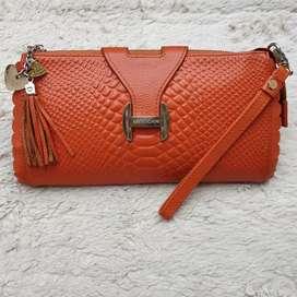 Tas import eks MEXICAN orange kulit asli clutch/tas tangan tebal