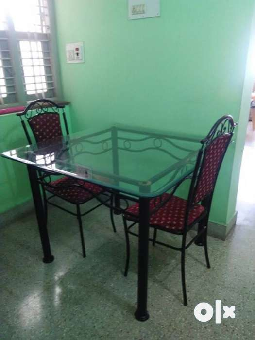 Metal Dining Table With GlassTop & 4 Seater Chair with Cushion 0