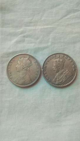 INDIAN ONE RUPEE  BRITISH SILVER COIN