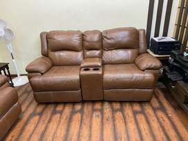 Genuine Leather 2 Seater Electrically Reclinable Sofa Lounger For Sale