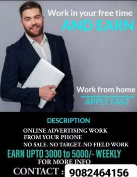 Digital advertisement work (home based work) weekly income4000 to 5000