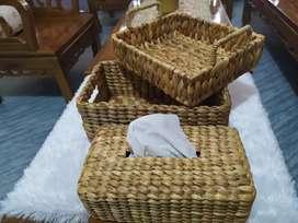 Nampan, Tempat Tisu dan Storage dari Ayaman Enceng Gondok