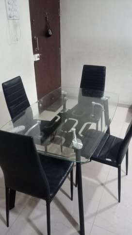 Dinning Glass Table with 4 chairs
