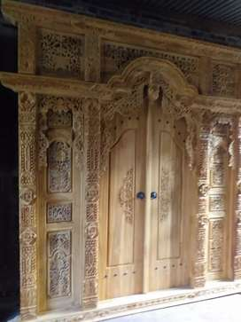 Gebyok 2,5m ter baik bahan kayu jati pintu uker