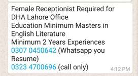 Female Receptionist Required for DHA Lahore Office