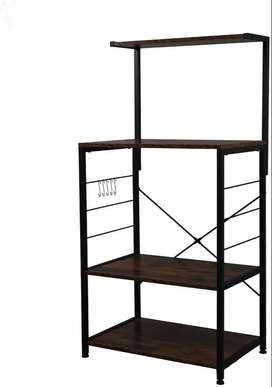 4-Tier Kitchen Bakers Rack-Dark Wood (60x40x118 cm)