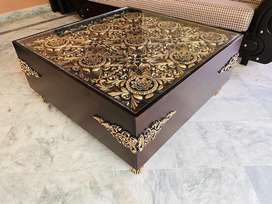 Golden Center Table With Chinyoti Work brand new bed sofa table